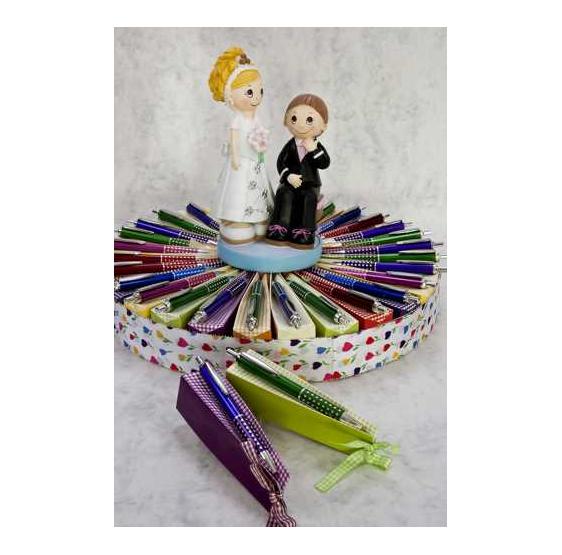 Boligrafos con caja caramelos surtidos de color