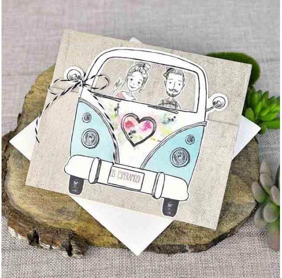 Invitación de boda original autobús