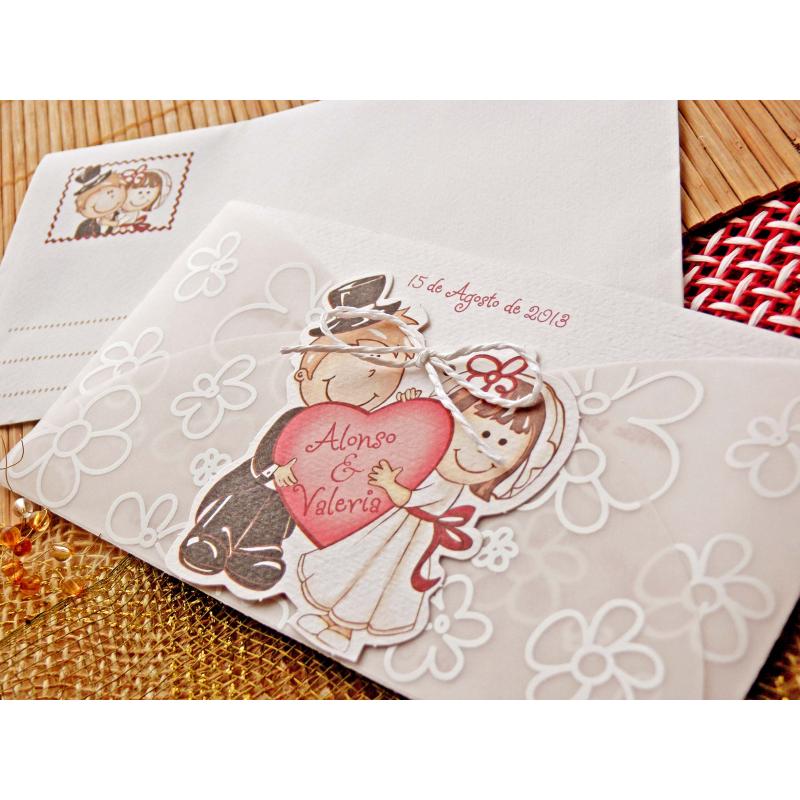 Invitaci n de boda original con dibujo de novios sujetando - Invitacion de boda original ...