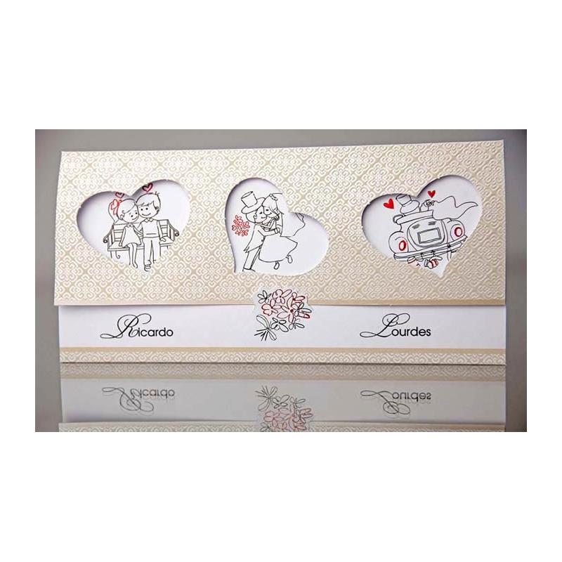 Invitaci n de boda original con dibujos de los novios - Invitacion de boda original ...