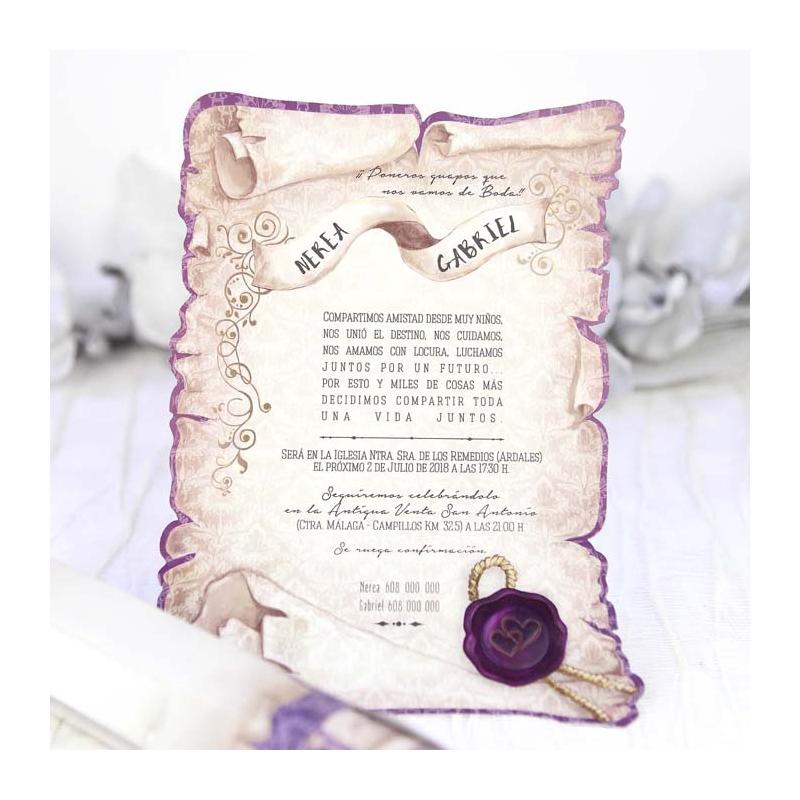 Invitaci n de boda pergamino enrollado original - Invitacion de boda original ...