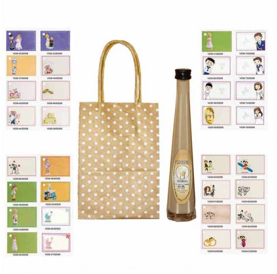 Pack licor crema en bolsas surtidas y tarjeta
