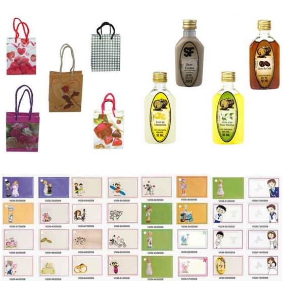 Licores con bolsas originales para regalos de boda