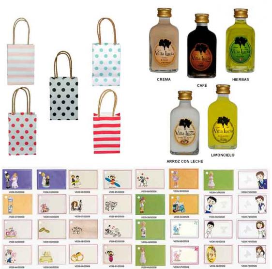 Pack Licores con bolsas originales detalles de boda