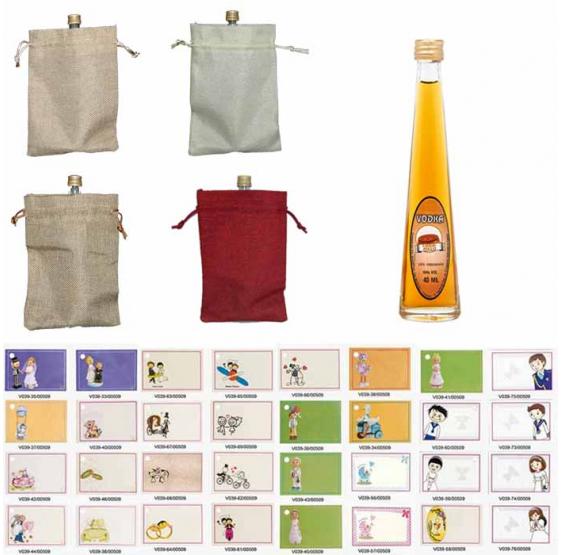 Miniatura vodka caramelo con bolsa de saco y tarjeta