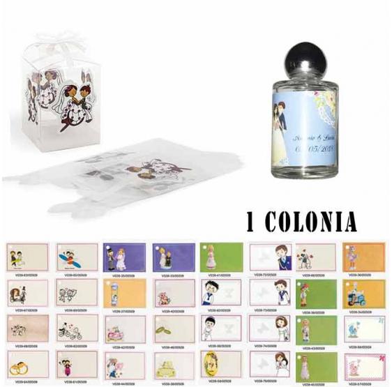 Colonia para detalles de boda con caja de acetato