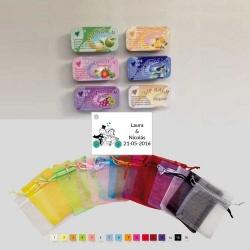 Bálsamo de labios en bolsa de organza con tarjeta personalizada
