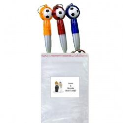 Bolígrafos llavero balón en bolsa con tarjeta