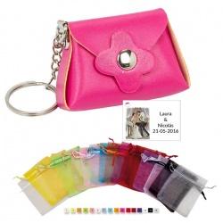 Pack llavero bolso en bolsa de organza con tarjeta