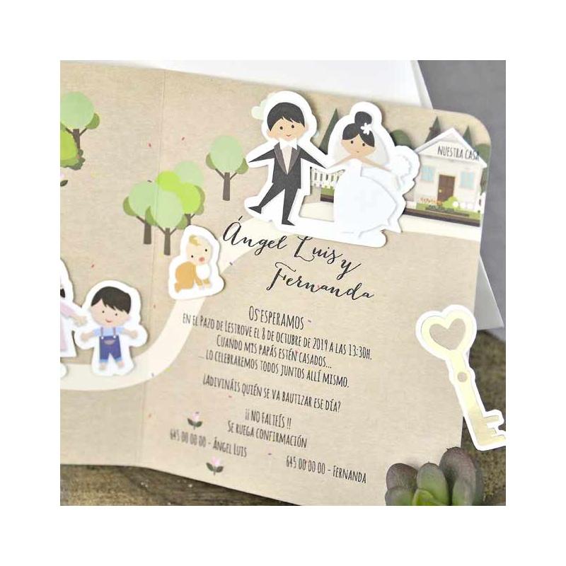 invitacion de boda con parque muy original