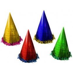 Sombrero perlescente de cartón con espumillón