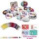 Espejos coloridos con búhos, de diferentes formas, con bolsa de organza multicolor, y tarjeta personalizada