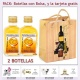 """2 Botellitas de Licor de Mandarina con bolsa """"bodegón"""" y tarjeta"""