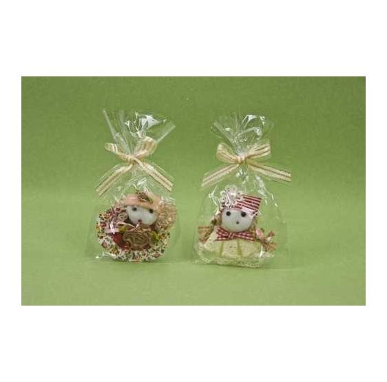 Broche muñeca gorro rayas/rosa con lazo oro