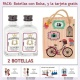 2 Botellitas de Ginebra Blanca con bolsa vintage con bicicleta y tarjeta